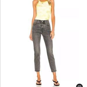 NWT LEVIS BIG E WOMENS 24 ICON WEDGIE ANKLE FIT VINTAGE 501 STYLE BLACK JEANS